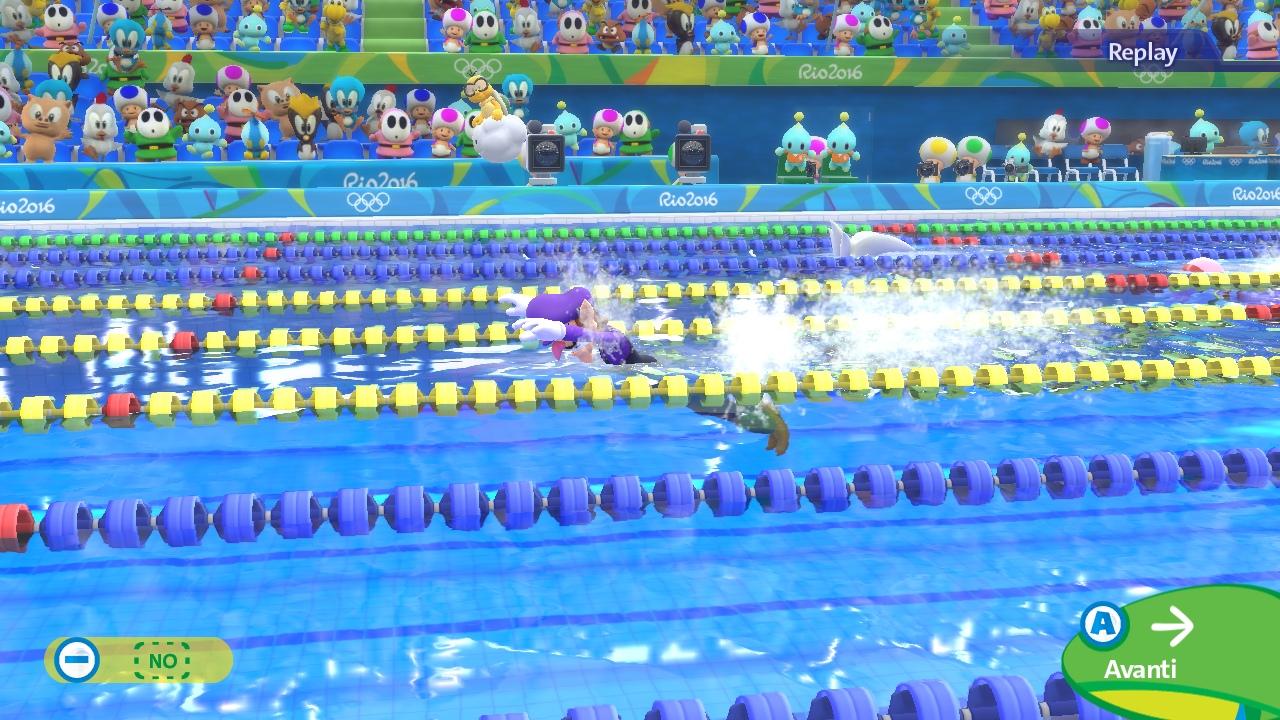 La pelle lucida di Waluigi ci emoziona nei 100 metri stile libero.