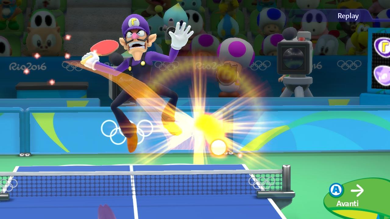 Waluigi impressiona i Toad, i Tipi Timidi e Porky Pig nel pubblico di Tennis tavolo.
