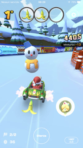 Un pupazzo di neve in Mario Kart Tour.