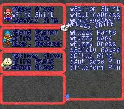 Un menù di Super Mario RPG.