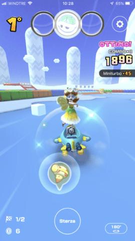 Un cubo di ghiaccio in Mario Kart Tour
