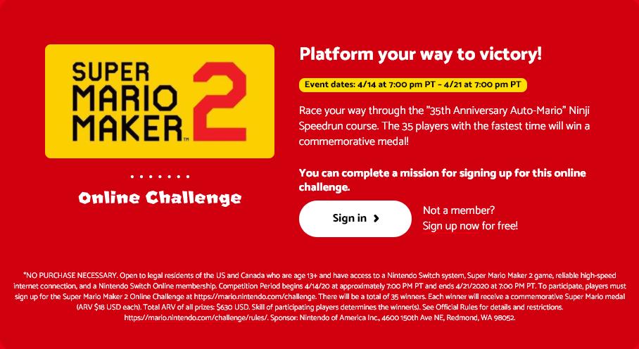 La Corsa Ninji di Super Mario Maker 2 datata 14 aprile prima del rinvio.