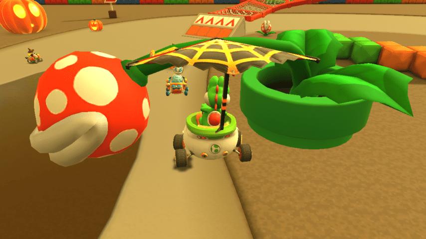 Yoshi di fronte a un tubo con una Pianta Piranha gigante | Mario Kart Tour