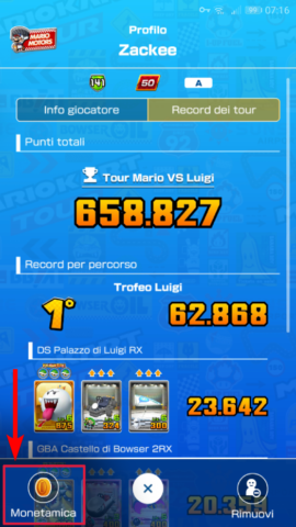 Una Monetamica in Mario Kart Tour